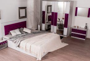 Спальня spa13125 по индивидуальным размерам на заказ, материалы из лдсп мдф эмали расцветка — фиолетовый белый в интернет магазине mebelblok.ru