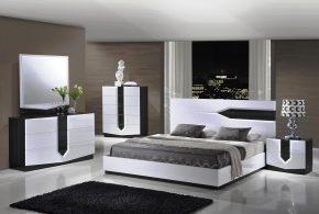 Спальня spa72836 по индивидуальным размерам на заказ, материалы из лдсп мдф эмали расцветка — черно-белый белый черный в интернет магазине mebelblok.ru