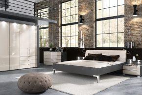 Спальня spa83356 по индивидуальным размерам на заказ, материалы из лдсп мдф эмали расцветка — бежевый серый в интернет магазине mebelblok.ru