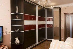 Угловой шкаф-купе с зеркалом на заказ в Москве из ДСП ЛДСП МДФ SHK25441