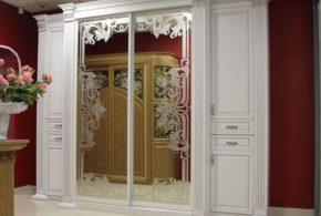 Классический шкаф-купе (зеркальный) на заказ в Москве из массива дерева ЛДСП МДФ SHK94559
