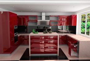 П-образная кухня по индивидуальным размерам на заказ фасады из лдсп мдф пластика стекла эмали фасад пленки KUH69480