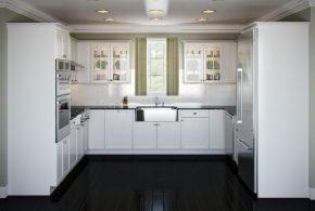 П-образная кухня по индивидуальным размерам на заказ фасады из лдсп мдф KUH86310