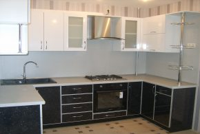 П-образная кухня по индивидуальным размерам на заказ фасады из лдсп мдф KUH52438