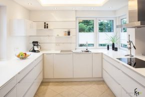 П-образная кухня по индивидуальным размерам на заказ фасады из лдсп мдф KUH58228