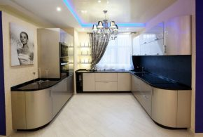П-образная кухня по индивидуальным размерам на заказ фасады из лдсп мдф KUH52783
