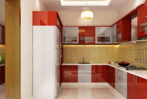 П-образная кухня по индивидуальным размерам на заказ фасады из лдсп мдф KUH15687